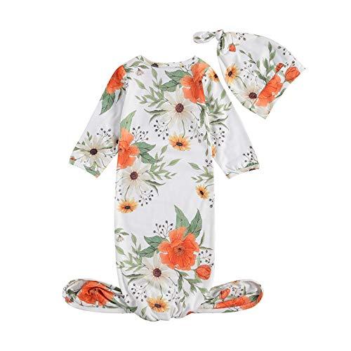 Saco de dormir para recién nacido, diseño floral, manga larga, algodón anudado + sombrero, camisón conjunto de ropa