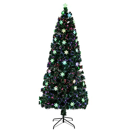 V-Parasoll Pre-lit Artificial Christmas Tree,7FT Optic Ornament Christmas Pine Tree with Multi-Color Lights,290 Tips Fireworks Tree Halloween Tree for Shops Hotel