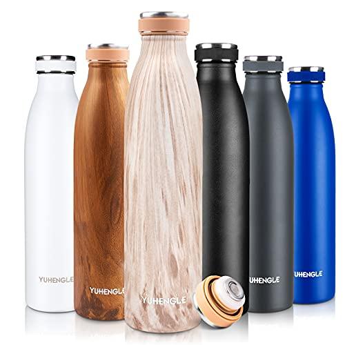 750ml Bottiglia Acqua in Acciaio Inox,Borraccia Termica,Senza BPA Isolamento Sottovuoto a Doppia Parete per Bevande Calde per 12Ore &Fredde 24Ore per Scuola,All'aperto,Yoga,Palestra Tazze da Viaggio