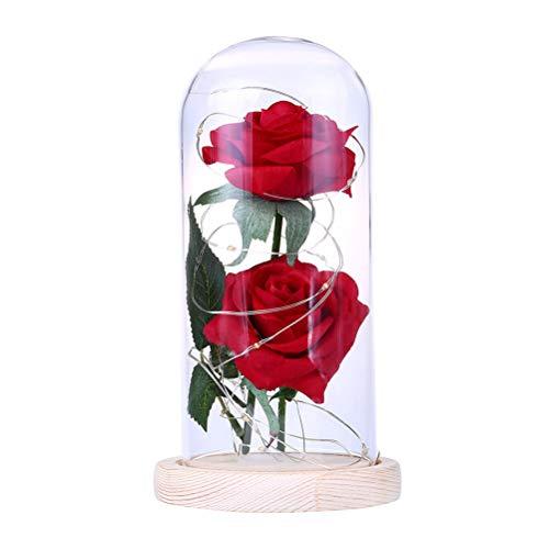 KESYOO 2 fleur rose éternelle avec guirlande lumineuse LED conservée dans un dôme en verre sur une base en bois beige (batterie non incluse)
