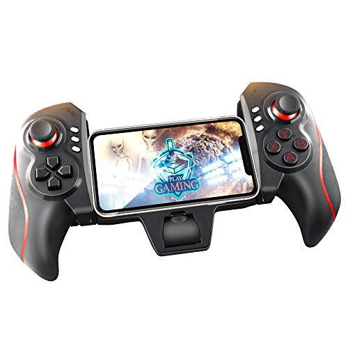 KawKaw Bluetooth Controller Gamepad für iOS und Android - Smartphone und Tablet Controller mit acht Richtungsbuttons, 12 Fire/Action-Buttons und Zwei Analog Pads