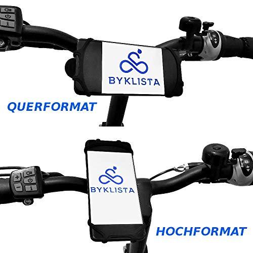 BYKLISTA® Handyhalterung Fahrrad + Gratis eBook – Handyhalter Fahrrad Gadget Handy Halterung Fahrradlenker flexibel aus Silikon für 4-6 Zoll – Smartphone Halterung Fahrrad rutschfest & sicher