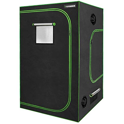 "VIVOSUN 60""x60""x80"" Mylar Hydroponic Grow Tent with Observation Window and Floor Tray for Indoor Plant Growing 5'x5'"