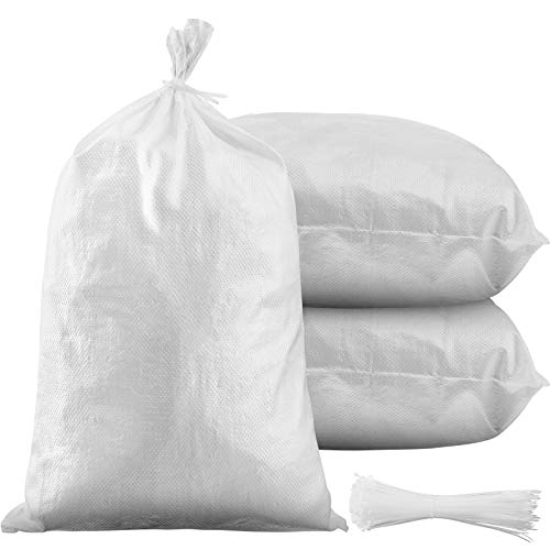 100 Pieces Empty Sandbag Heavy Duty Flooding Outdoor Woven Polypropylene Sand Bags with Solid Ties for UV Protection Emergency Situation Roadblock Building Construction, 26 x 14 Inches