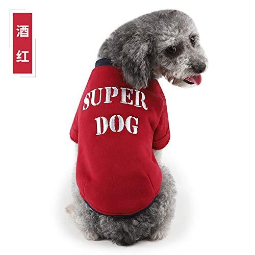 JIUI Hond Warm Jassen Spot groothandel 2018 herfst en winter nieuwe huisdier kleding Hawo - SUPER DOG borduurwerk twee-benige trui, L (suitable for 8~11 kg), Wijn Rood