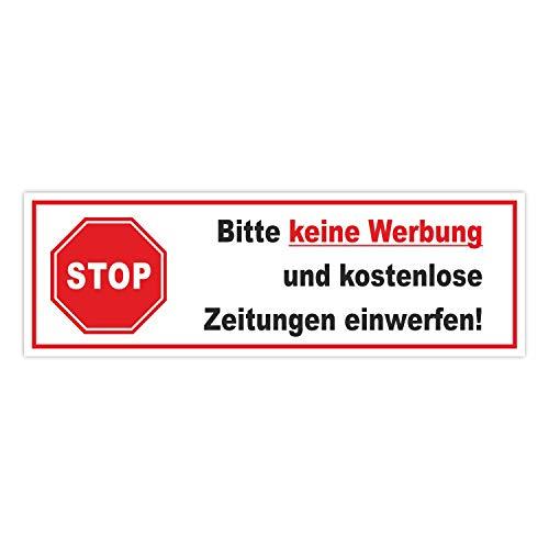 Aufkleber Stop Bitte keine Werbung und kostenlose Zeitung einwerfen! I 15 x 4,9 cm I Gegen Reklame im Briefkasten I wetterfest I hin_378