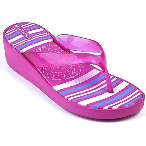 R-ISLAND Infradito Donna Zeppa Ciabatte Donna Aperte Con Tacco Elegante Pantofole Piscina E Spiaggia Mare Per Adulto Estivi Taglia 36-41(X21442 Rosso. numeric_39)