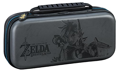 NINTENDO SWITCH DELUXE ZELDA LINK TRAVEL CASE, PREMIUM HARD CASE MADE WITH KOSKIN LEATHER EMBOSSED WITH ZELDA BREATH OF THE WILD ART. DESIGNED TO PROTECT SWITCH'S ANALOG STICKS. BONUS MULTI-GAME CASES