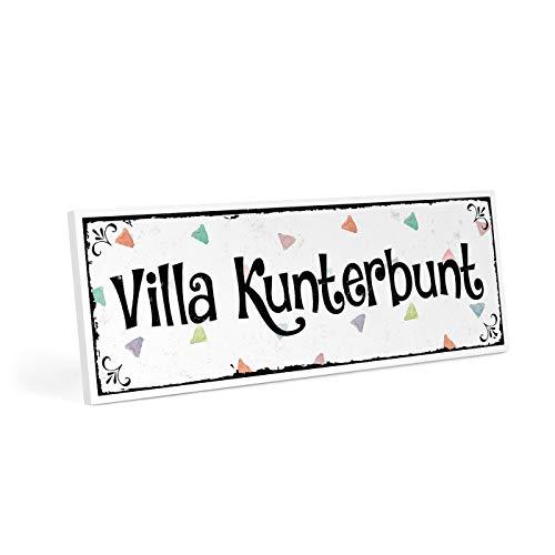 ARTFAVES Türschild mit Spruch - Villa KUNTERBUNT - Vintage Shabby Deko-Wandbild/Türschild