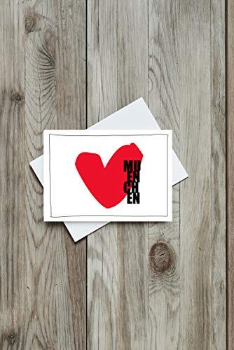 Grusskarte ''München Herz'', Postkarte, Recycling, München, Bayern, Lokalpatrioten, Herz, Grüße, Verliebt, Karte, Geschenk, Gedanken, rot
