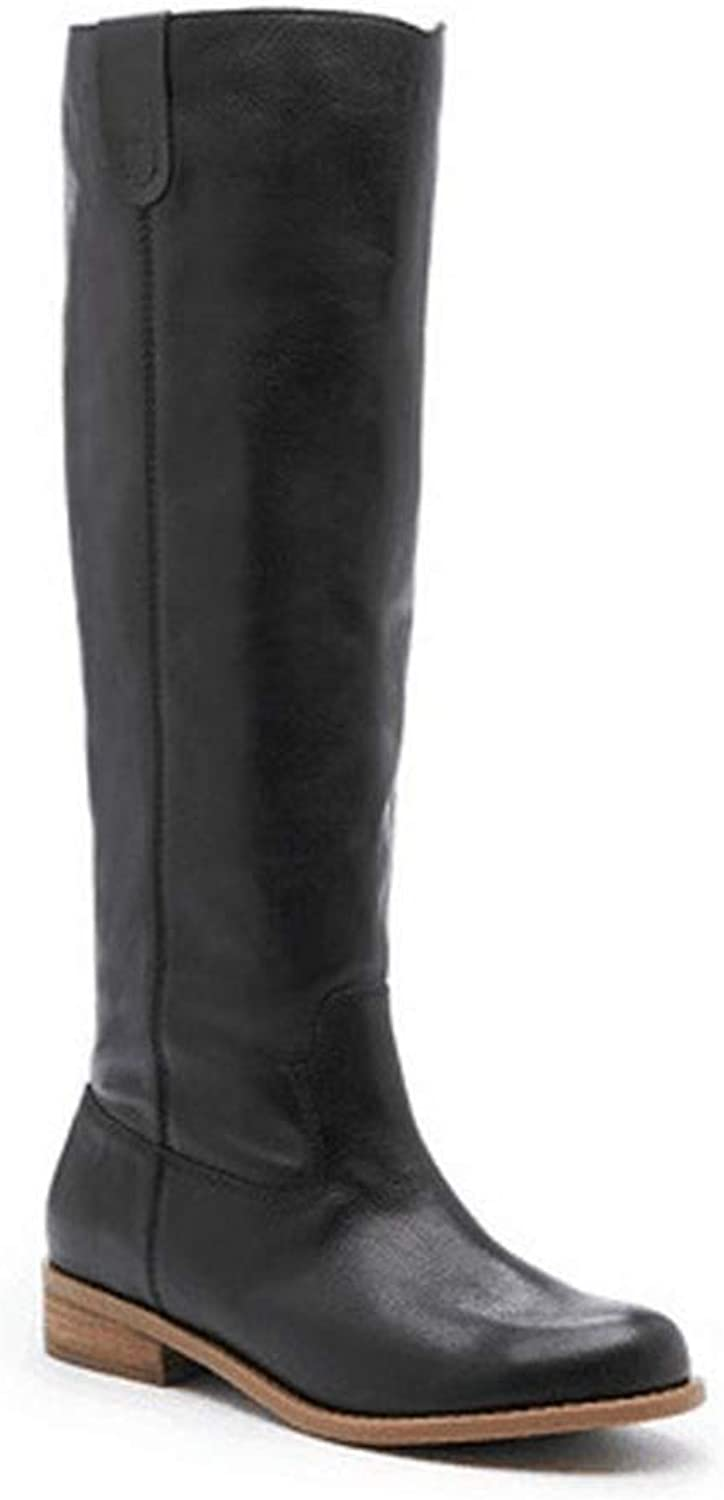 Women Winter Knee-High Boots Fashion Slip-On Pu Leather Suede Matte Knees Flat Plus Size 34-43