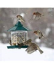 TopHGC Comedero para pájaros, comedero Colgante para pájaros Silvestres Contenedor de Comida para pájaros al Aire Libre Suministros para Mascotas Impermeables