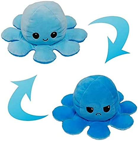 Amis Bleu Clair + Bleu Peluche Poulpe Double Face N//H Peluche Poulpe pour Enfants poup/ée Poulpe r/éversible Douce et Mignonne