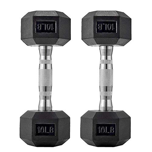 papababe Dumbbells Free Weights Dumbbells Weight Set Rubber Coated cast Iron HeX Black Dumbbell Pair (10, Pair)