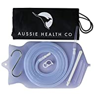 Aussie Health Co Non-Toxic Silicone Enema Bag Kit - 2 Quart Capacity for Water & Coffee Colon Cleansing - BPA & Phthalates Free - 6.5 Foot Hose, 3 Tips, Strong Clamp, Bonus Nozzle & Instruction Guide