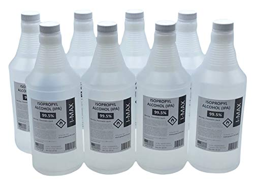 USP Grade Isopropyl Alcohol 99.5+% - 8 x 1000 ml - More Than 2 Gallons - 8 Liters of High Purity IPA 99.5% - Made in USA