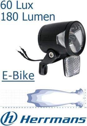 P4B schwarz Herrmans Scheinw-h-Black Mr8-e Bike-Standard Halter-60 Lux, One Size