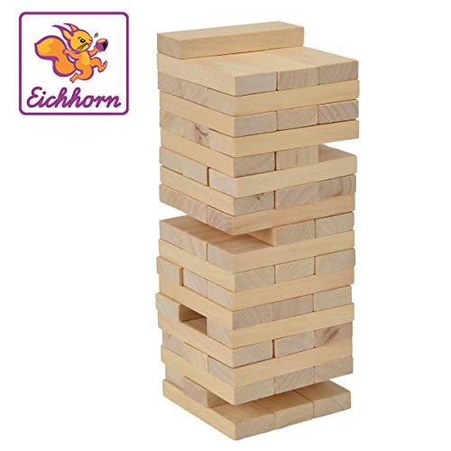 Eichhoorn stapelspel, behendigheidsspel voor het hele gezin, Balance Tower gemaakt van onbehandeld hout, 54 delig, geschikt vanaf 5 jaar