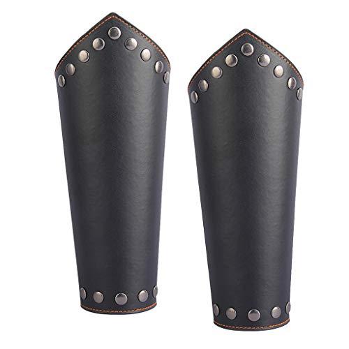 lahomia 2 Pieces Leather Arm Guards Bracelet Medieval Bracers Rivet Rivets Wrist
