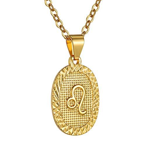 GoldChic JewerlyCollana Leo ovale in oro, etichetta con oroscopo in oro 12 costellazioni per donna e uomo