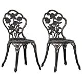 vidaXL 2X Bistrostuhl Witterungsbeständig Gartenstuhl Terrassenstuhl Balkonstuhl Bistrostühle Bistro Stuhl Stühle Bronze Aluminiumguss