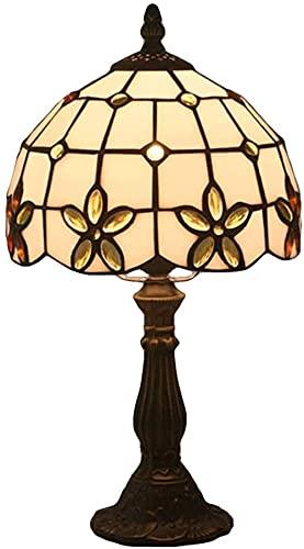 Retro Lamparas de Mesa Lámpara de escritorio de 8 pulgadas Flor pastoral Estilo Tiffany Lámparas de pintura de cabecera para sala de estar Comedor-Oro