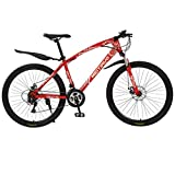 Fitfulvan Outroad Mountain Bike 21 Speed Gears 26 inch Folding Bike Double Disc Brake Bicycles with High Carbon Steel Mountain Bike Dual Suspension Frame, Red