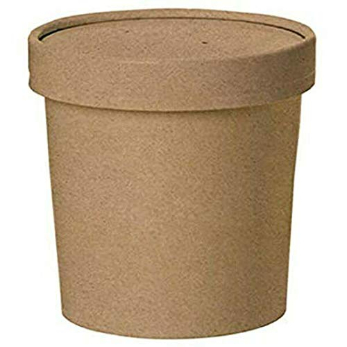 We Can Source It Ltd - Contenedor de helados Kraft desechable de 16 onzas para sopa de helados redondos con tapas de cartón resistente - 200 ollas y tapas