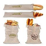 Bolsas de pan de lino, organizador de bolsas de pan baguette reutilizable con cordón, recipiente de almacenamiento de alimentos lavable, para pan baguette y pan artesanal casero