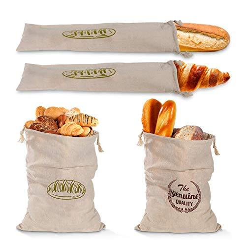 Bolsas de pan de lino, organizador de bolsas de pan reutilizable con cordón, recipiente de almacenamiento de alimentos lavable, para pan artesanal casero