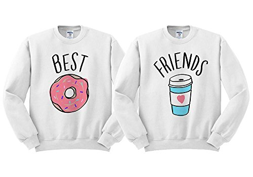 Best Friends Donut Coffee Duo Sweatshirt Unisex White