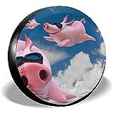Olive Croft Blue Sky Pig Piggy Reserveradabdeckung Universal Radabdeckungen für Anhänger RV SUV LKW Fahrzeuge 14-17inch