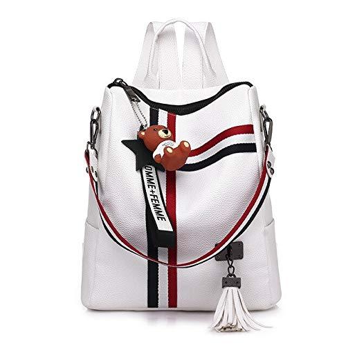 Damentaschen 2019 Neue Retro-Mode Reißverschluss Damen Rucksäcke PU-Leder hochwertige Jugend Schultasche Umhängetaschen - White1,27x12x30cm