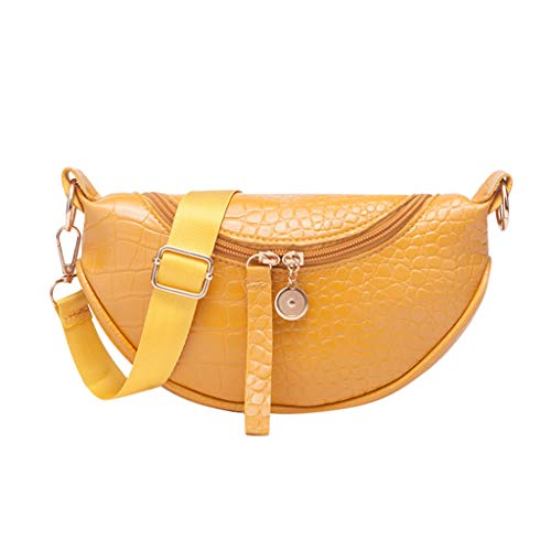 HWTOP Damen Krokodilmuster Halbkreis Umhängetasche Sattel Messenger-Bags Schultertasche Handtasche Schultertaschen Single Shoulder Bags, Gelb
