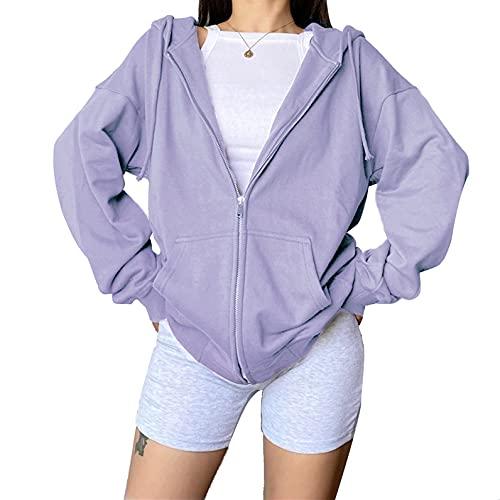 L&ieserram Damen Hoodie Jacke Oversize Vintage Reißverschluss Kapuzenjacke Zip Up Kapuzenpullover Sweatshirt mit Kapuze 90er Y2K E-Girl Übergangsjacke (D Lila, M)