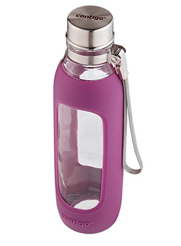 Contigo Purity Glass Water Bottle, 20oz, Radiant Orchid