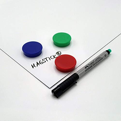 DIN A3 Magstick® Whiteboard-Folie selbstklebend I flexibler Haftgrund für Magnete I Ferrofolie in weiß, beschreibbar, nass abwischbar I mag_087