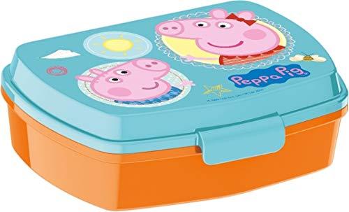 Peppa Pig Caja Merienda | Rectangular Caja de Desayuno | 17 x 12 x 5 cm