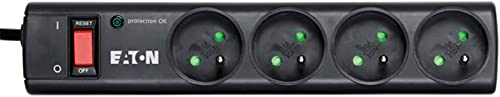 Eaton Multiprise/Parafoudre - Eaton Protection Strip 4 FR - PS4F - 4 prises FR - Noir