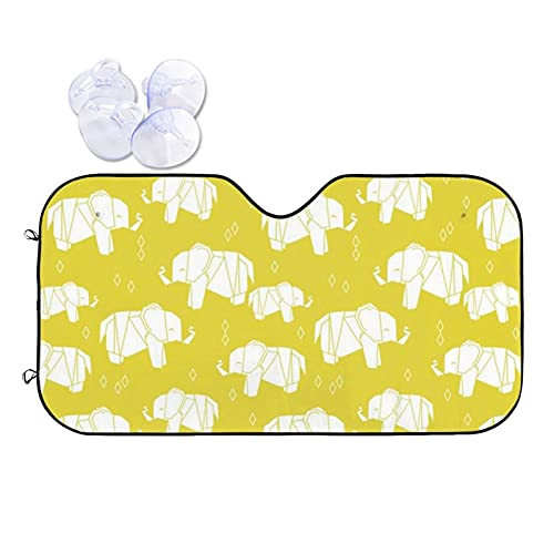 N\\A Car Windshield Sunshade Uv Protector Automotive Origami Elephant Yellow Window Sunshades Fit for Cars, Suvs, Trucks Keeping Your Vehicle Cooler