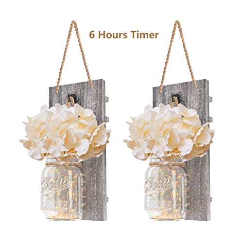 DOGAR Premium Mason Jar Lights - Sconces Wall Dcor - Rustic Home Dcor with Fairy LED Lights 6 Hours Timer - Silk Hydrangea - Home Kitchen Decoration Wall Sconces Set of 2