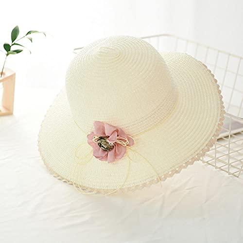 Sombreros De Paja Gorra De Mujer Sombrero De Paja con Flores para Mujer Guirnalda Sunbonnet Sombrero De Cubo con Dobladillo Enrollado Gorra De Playa Sombrero para El Sol para Mujer-Milk_Whit