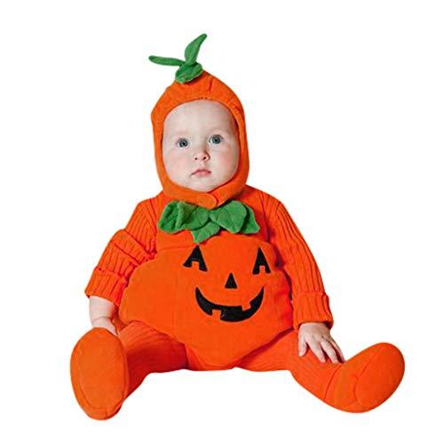 Fossen Kids Disfraz Halloween Bebe Niña Niño Calabaza Cremallera, Monos con Capucha y Manga Larga Disfraces Halloween Niñas Recien Nacido (Naranja-E, 3-6 Meses)