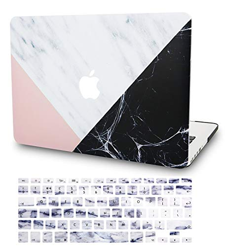 KECC Laptop Case for MacBook Air 13' Retina (2020, Touch ID) w/Keyboard Cover Plastic Hard Shell Case A2179 2 in 1 Bundle (White Marble Pink Black)