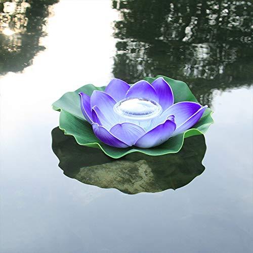HSLIUYILYA Luz Solar Al Aire Libre De Lotus, Impermeable Flotador Agua De Estanque De La Lámpara, Flor De Loto Deseando Luz De La Noche De Fiesta En La Piscina del Tanque De Jardinería,Wurple