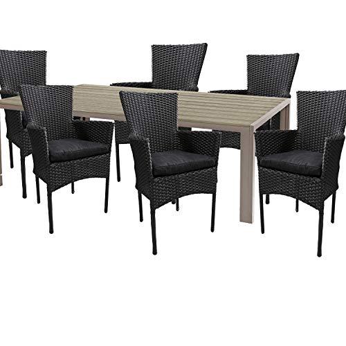 Mojawo hoogwaardige tuinset 7-delig tuintafel 180x90cm champagne aluminium/polywood champagne + 6 rotan stoelen zwart