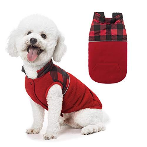 SCIROKKO Polar Fleece Dog Vest Winter Coat with Water-Proof Side - Reversible Pet Cold Weather...
