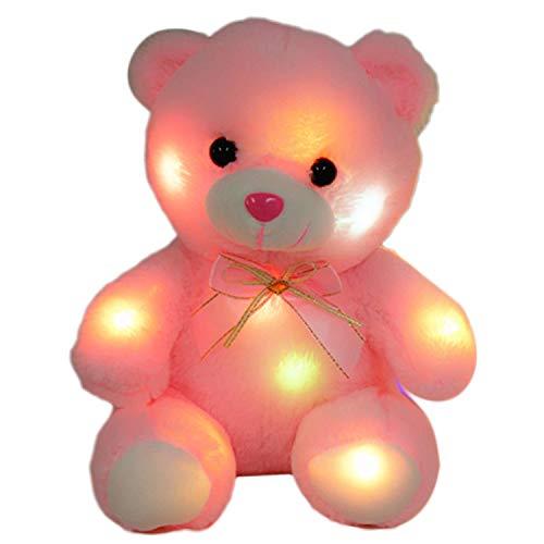 Deeabo 22cm Leuchtender Bär, Glühbär Kuscheltier Puppe, LED Buntes Nachtlicht Plüschtier Soft Floppy Geburtstag Valentinstag Festivals Geschenk für Kinder, Rosa