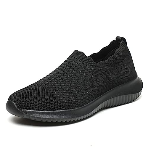 LXLOVESM Zapatos de mujer para caminar, de moda, sin cordones, para correr, casual, atlético, ligero, transpirable, para el gimnasio, Negro, 40 EU