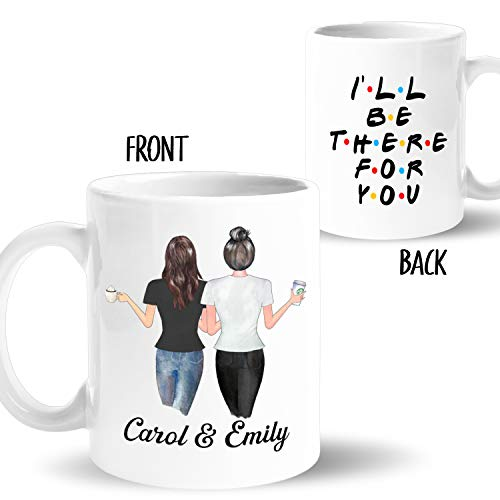 Custom Best Friend Coffee Mug for Women, BFF Personalized Cup with Names, Hairstyles, T-Shirts, Customized Text for Besties, Long Distance Friendship, Soul Sisters, Friend's Birthday Gift, BFF (15 oz)